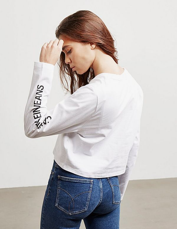 5a8d703a08e3 Calvin Klein Jeans Institutional Cropped Long Sleeve T-Shirt | Tessuti