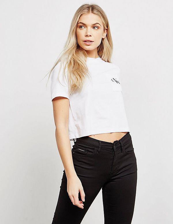 995dc4ab11c Calvin Klein Jeans Monogram Cropped Short Sleeve T-Shirt | Tessuti