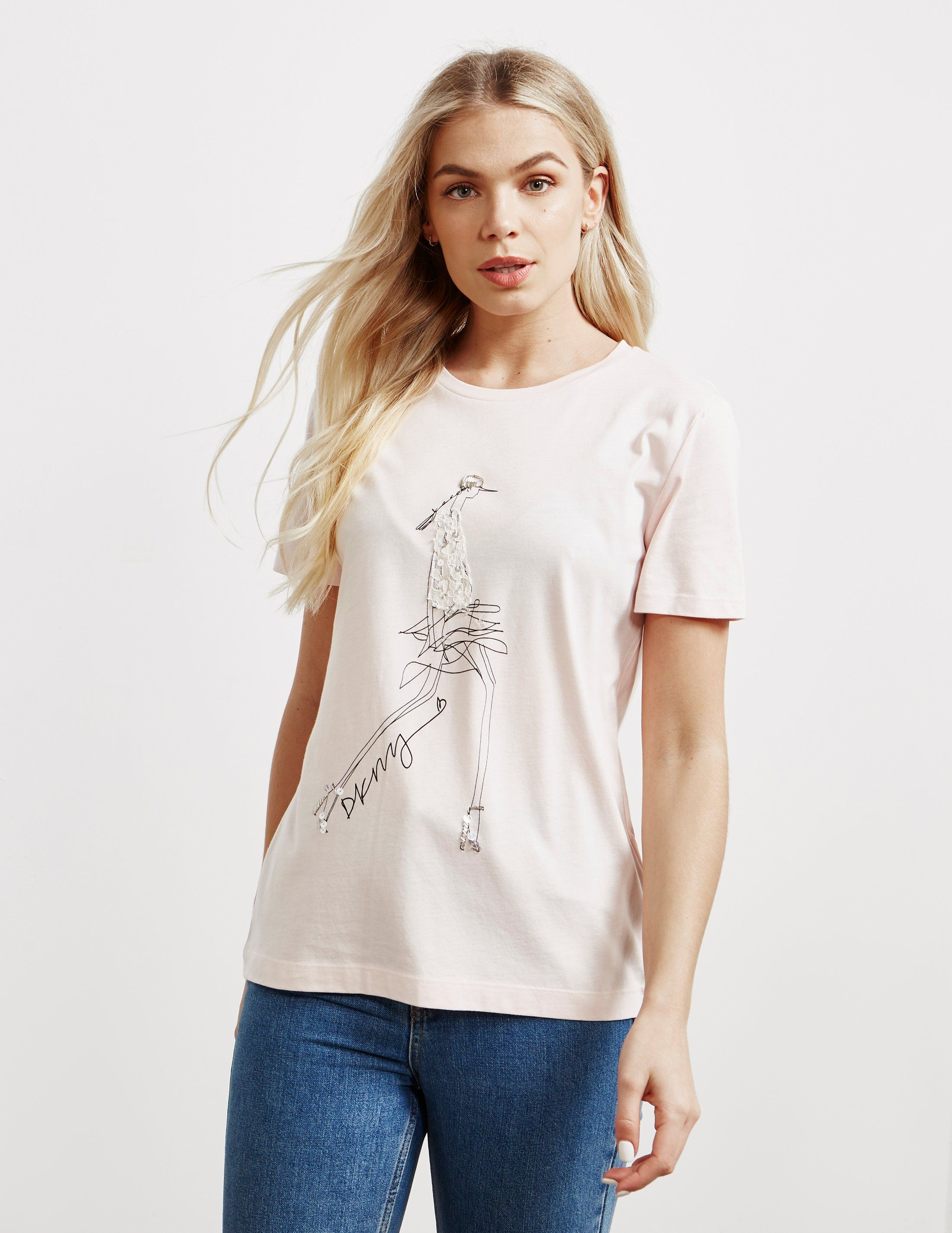 DKNY Lace Graphic Short Sleeve T-Shirt