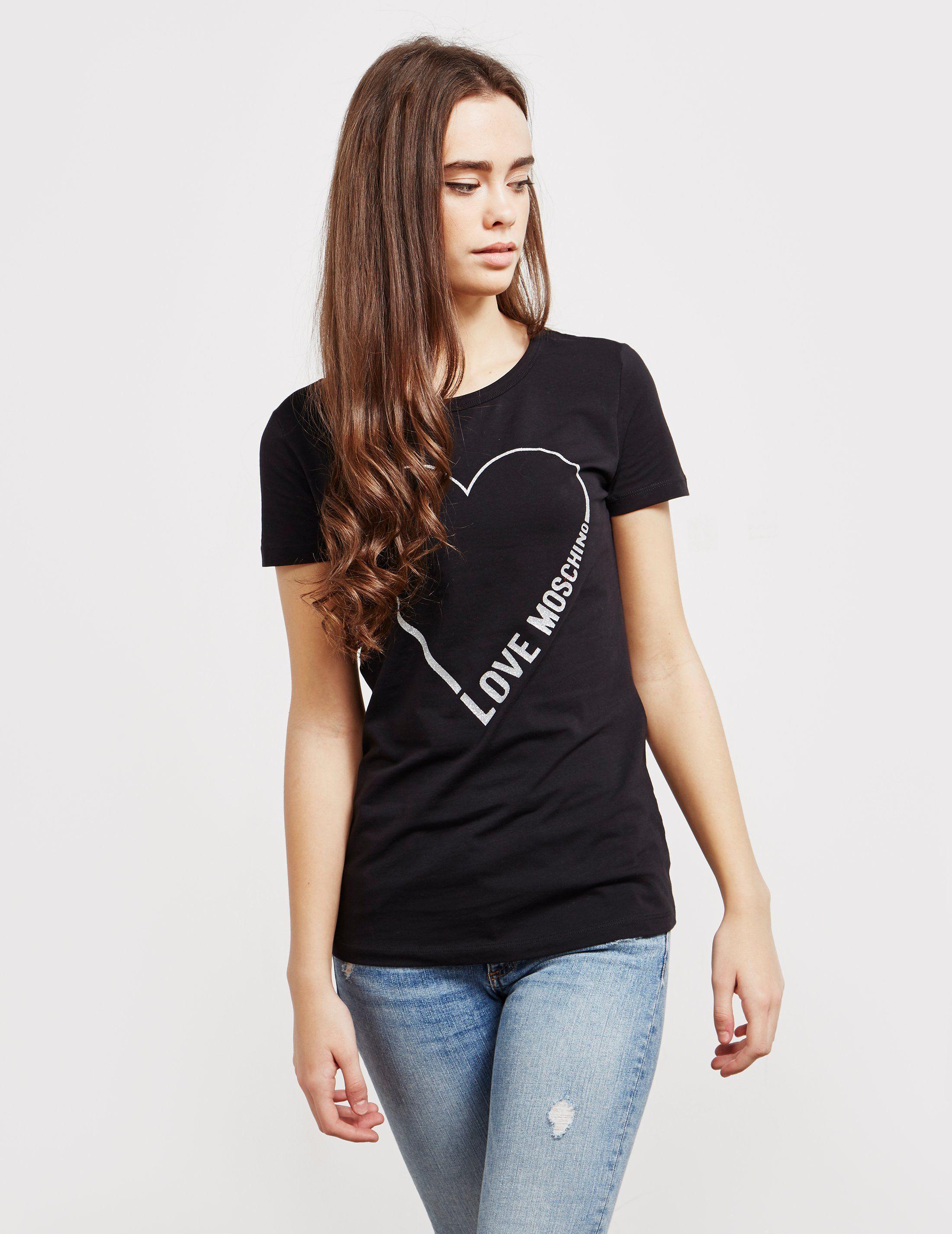 Love Moschino Glitter Heart Short Sleeve T-Shirt