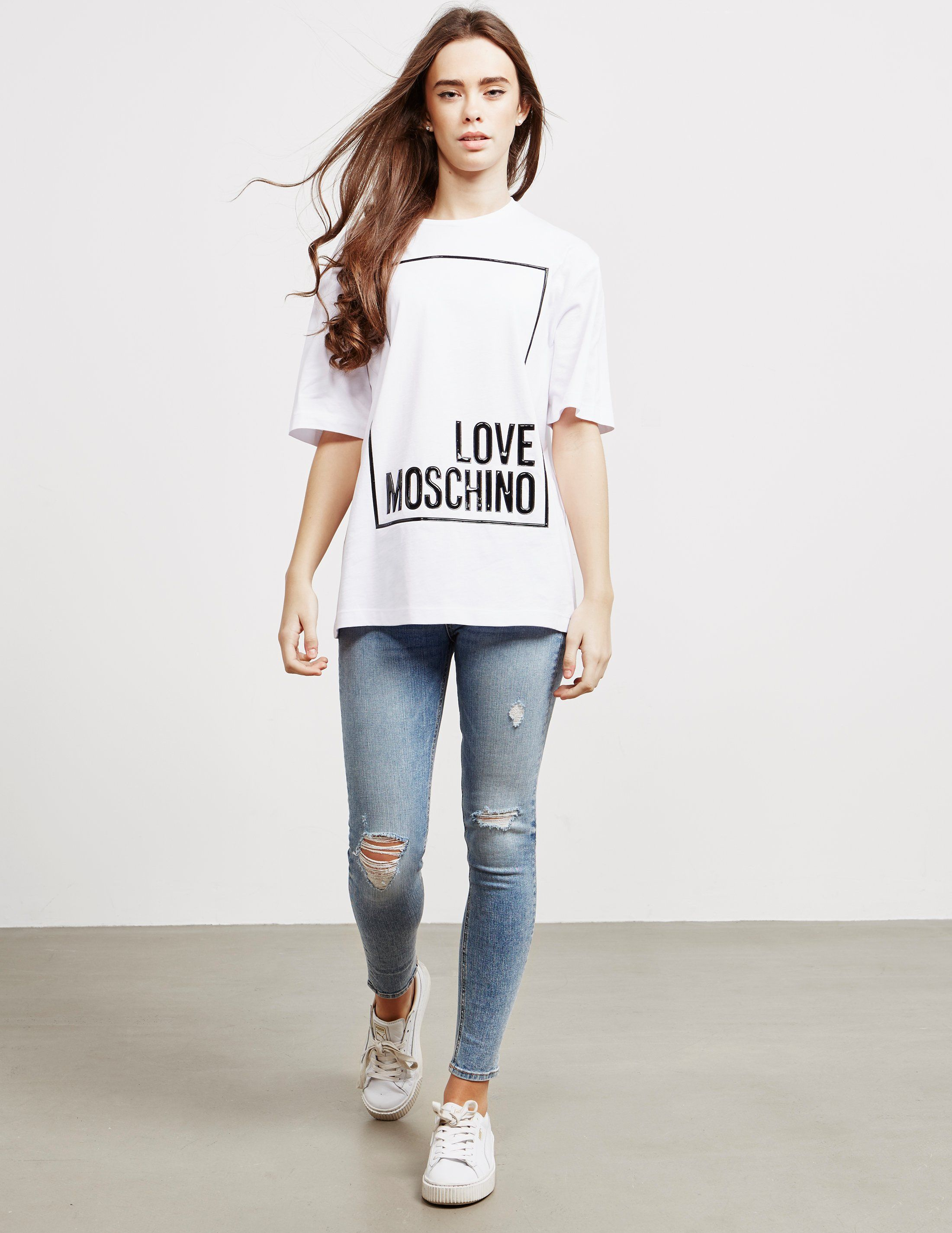 Love Moschino Logo Square Short Sleeve T-Shirt