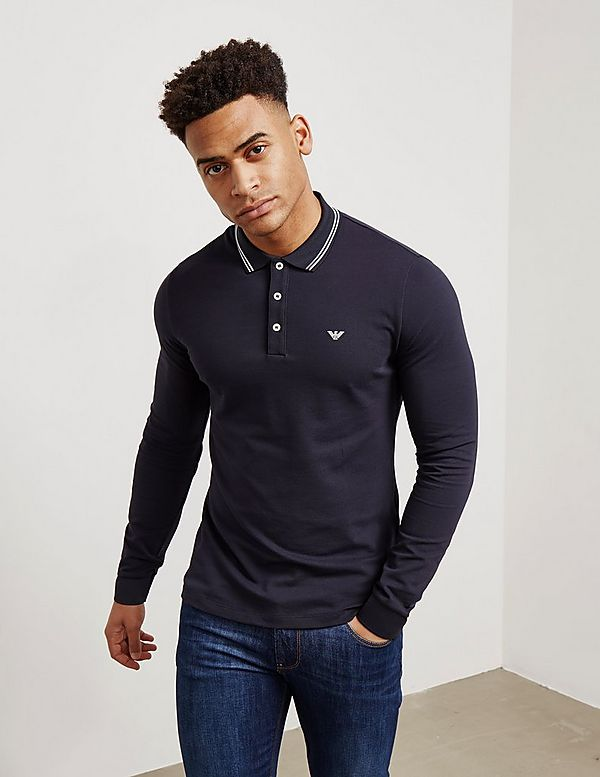 28a8871cb Emporio Armani Tipped Long Sleeve Polo Shirt | Tessuti