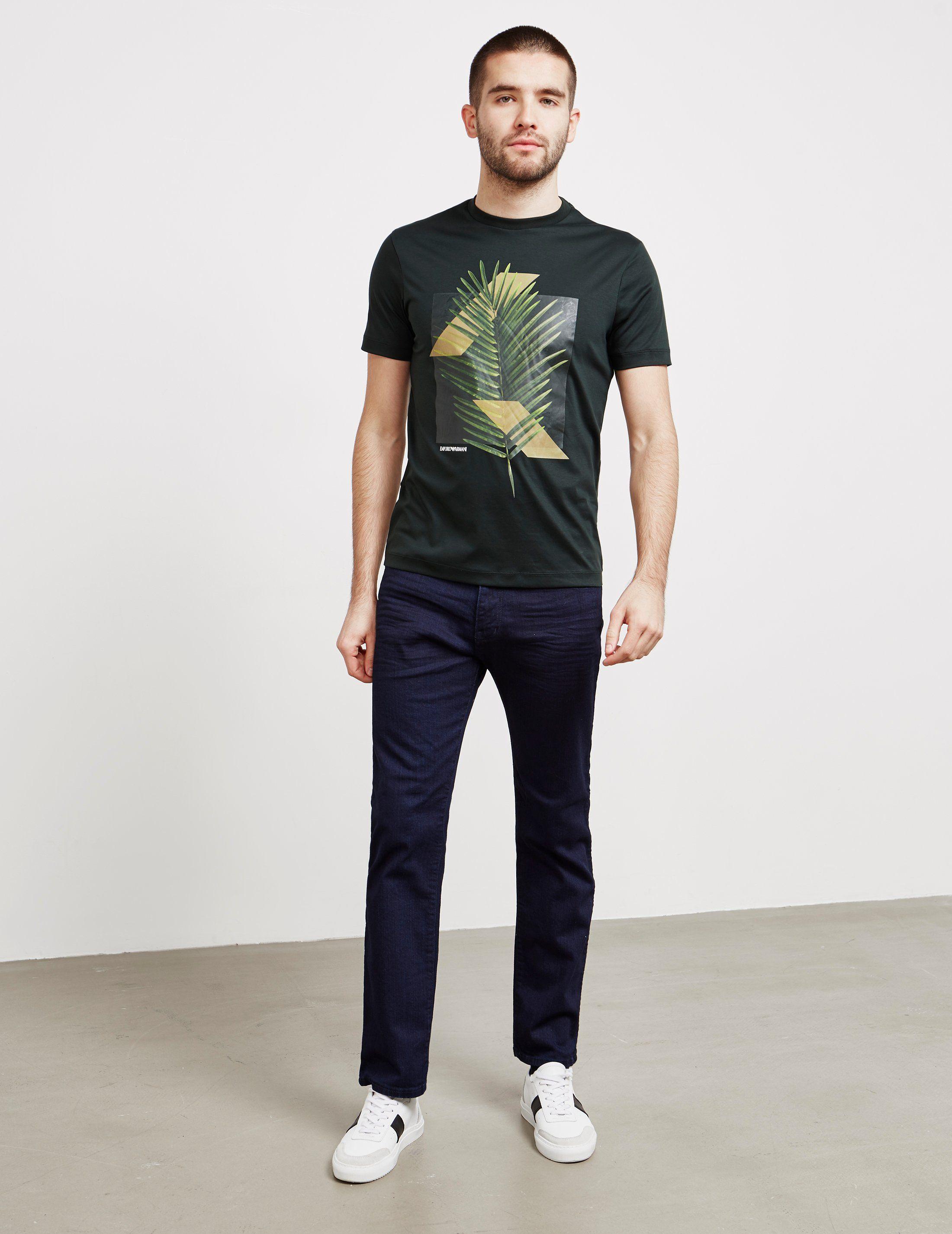 Emporio Armani Palm Print Short Sleeve T-Shirt - Online Exclusive