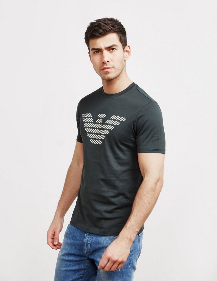 Emporio Armani Stripe Eagle Short Sleeve T-Shirt