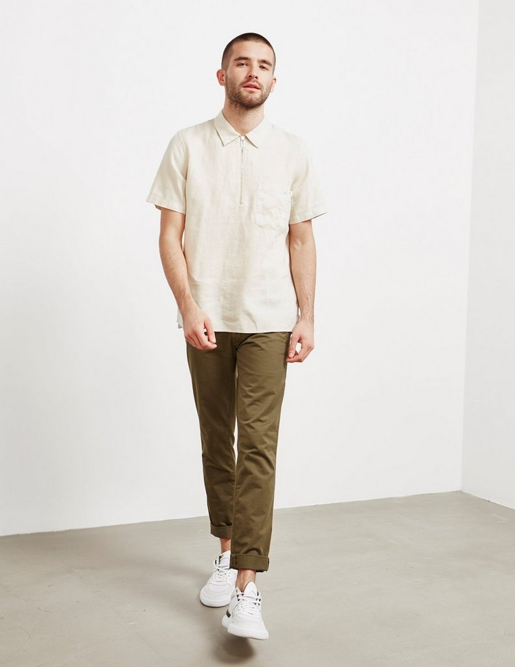 PS Paul Smith Linen Half Zip Short Sleeve Polo Shirt