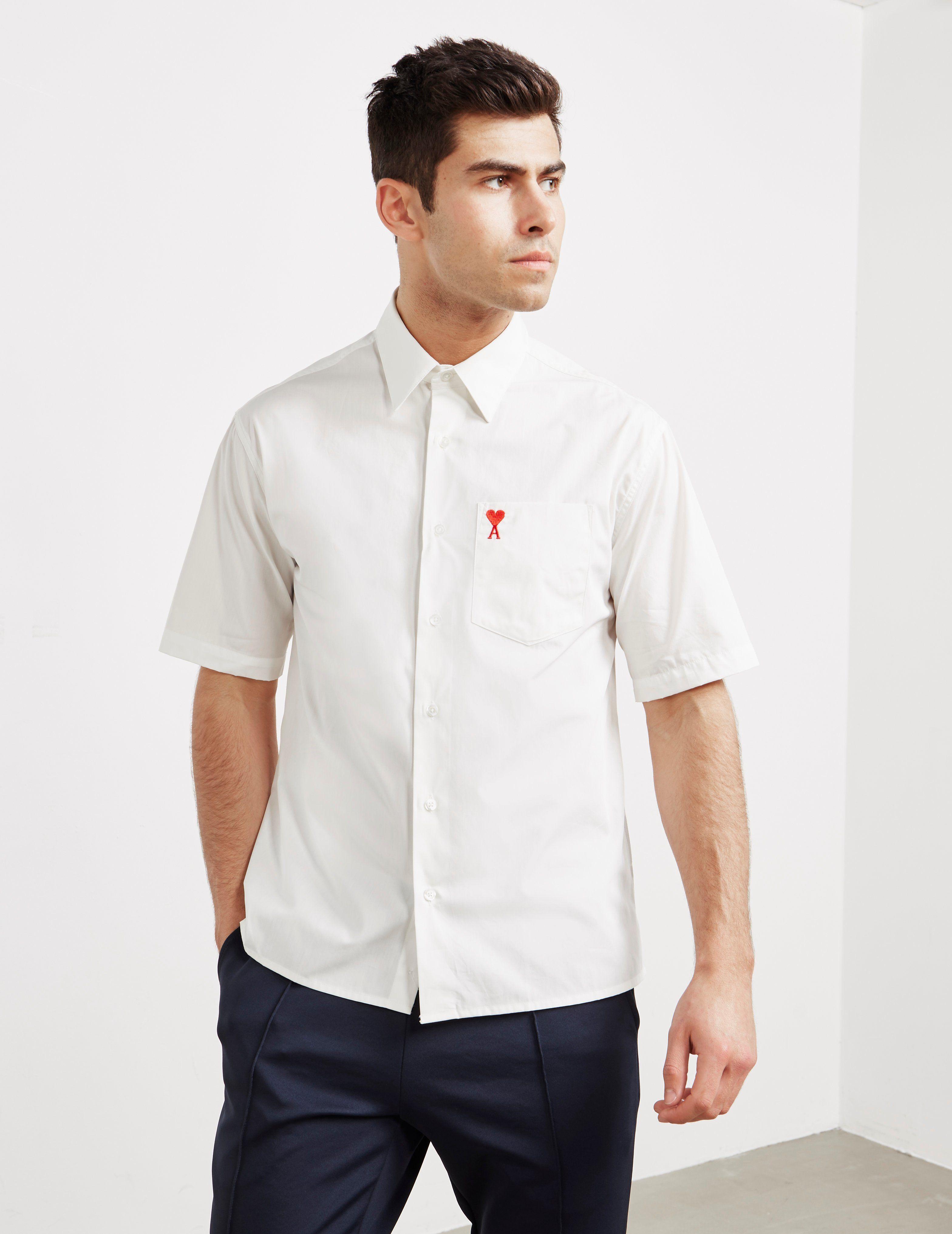 AMI Paris Heart Logo Short Sleeve Shirt
