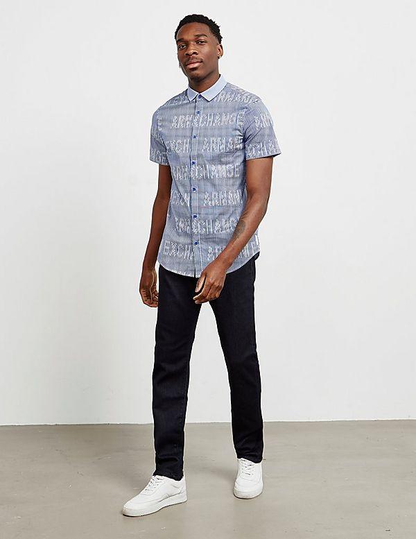 Armani Exchange Logo Stripe Short Sleeve Shirt