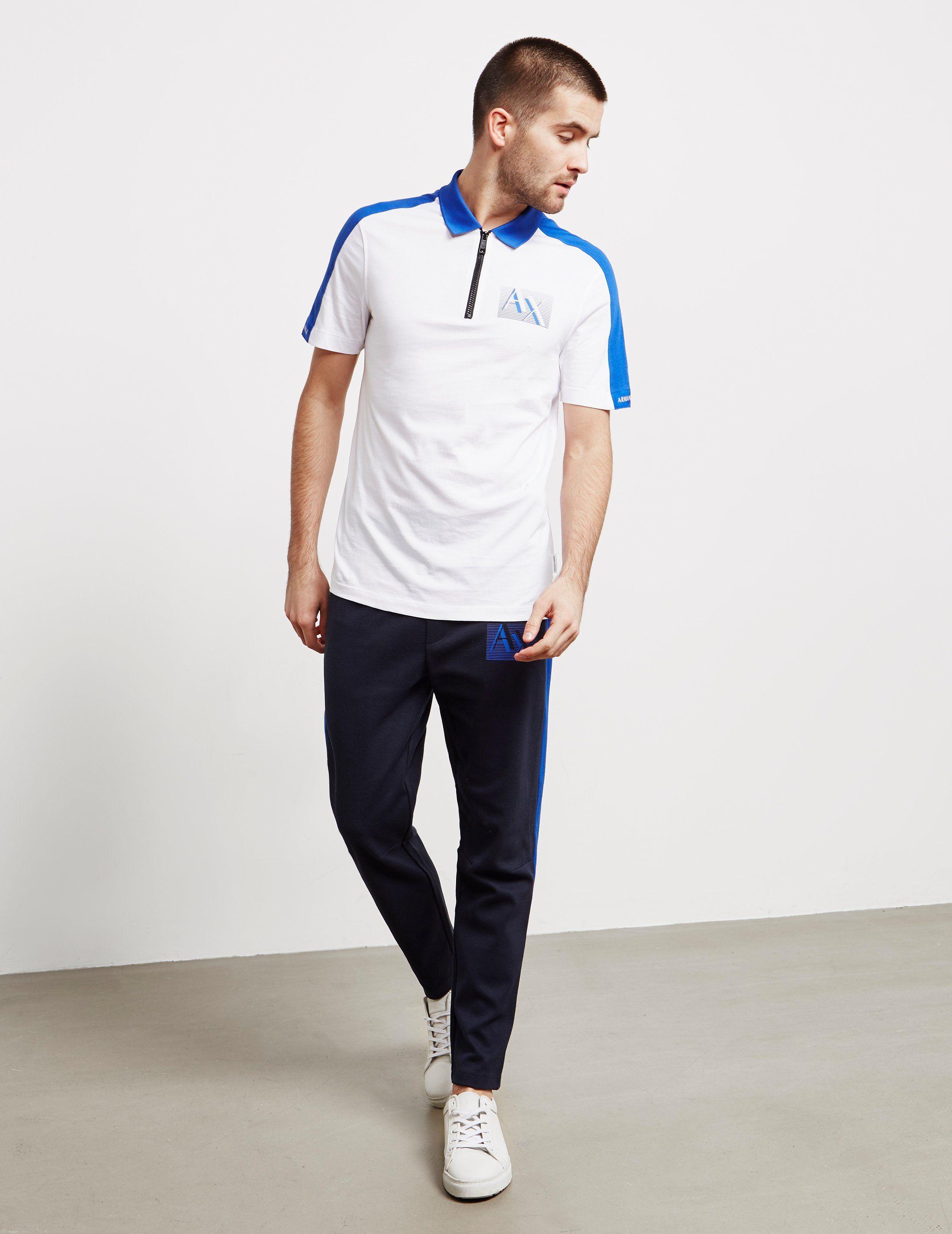 Armani Exchange Zip Short Sleeve Polo Shirt - Online Exclusive