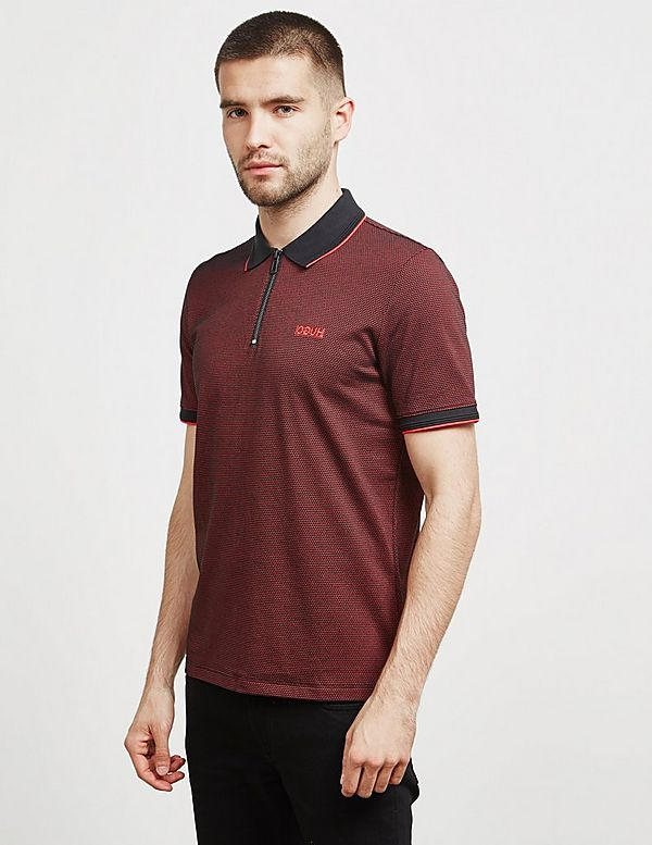 HUGO Direnze Zip Short Sleeve Polo Shirt