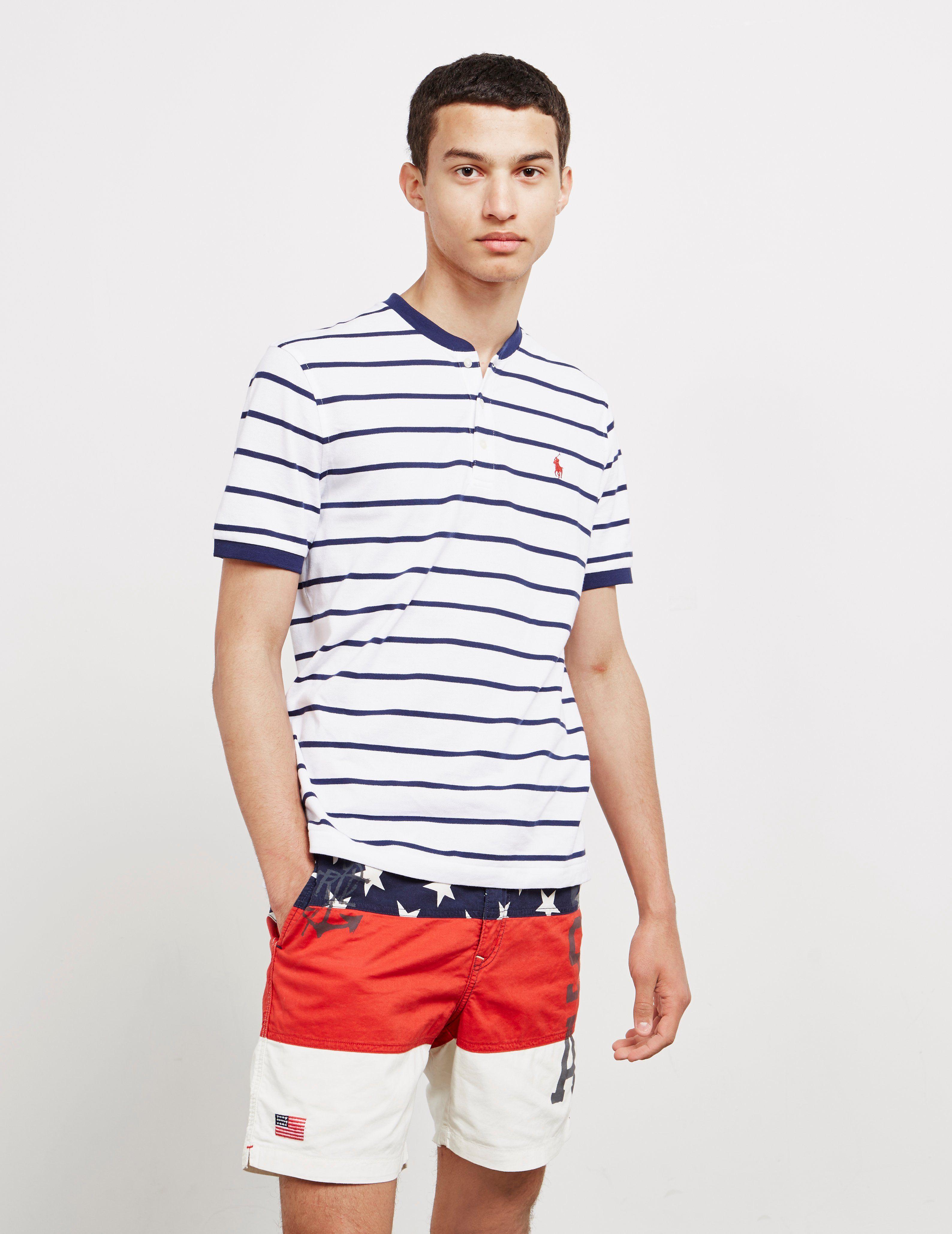 Polo Ralph Lauren Stripe Grandad Collar Short Sleeve Polo Shirt