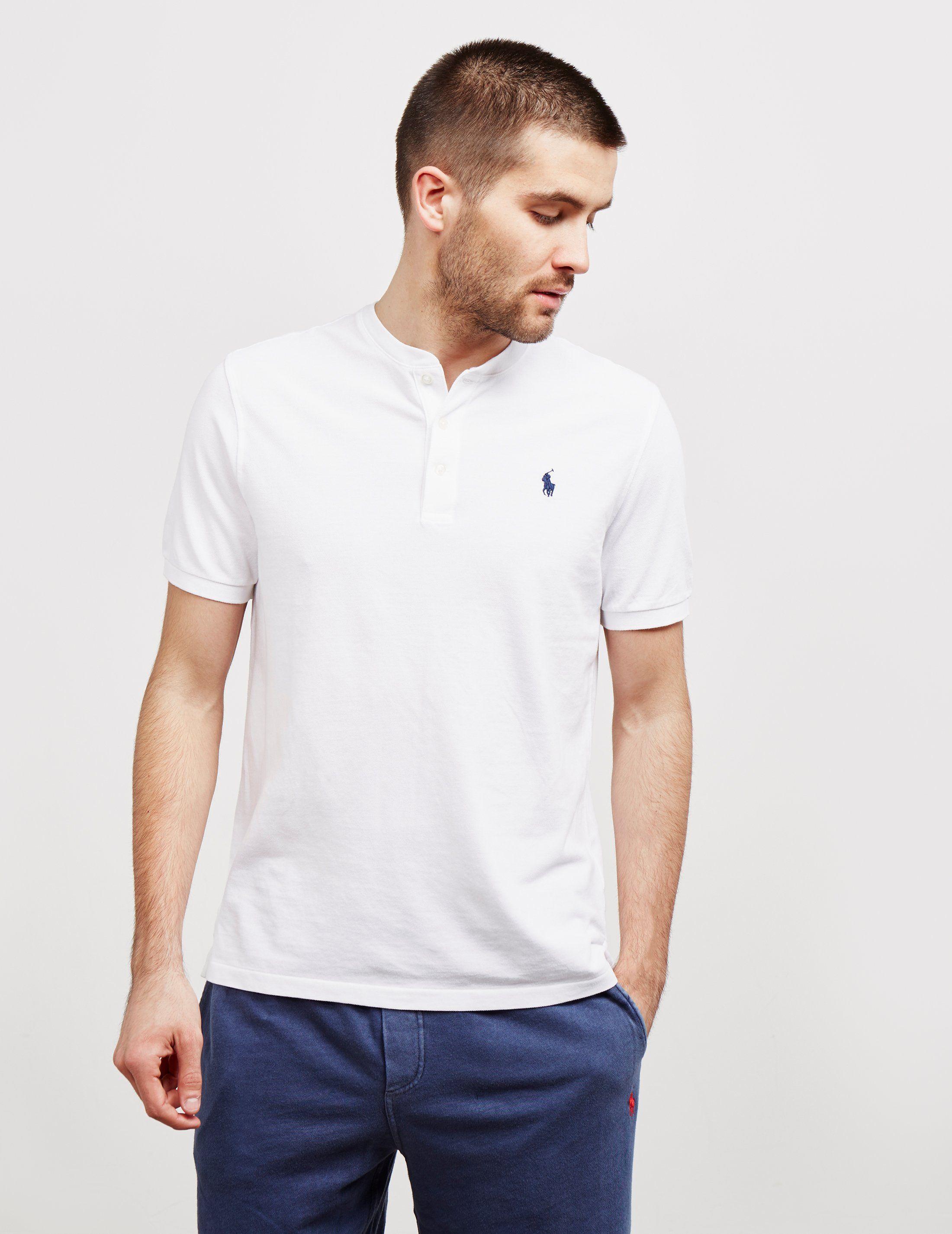 Polo Ralph Lauren Plain Grandad Collar Short Sleeve Polo Shirt