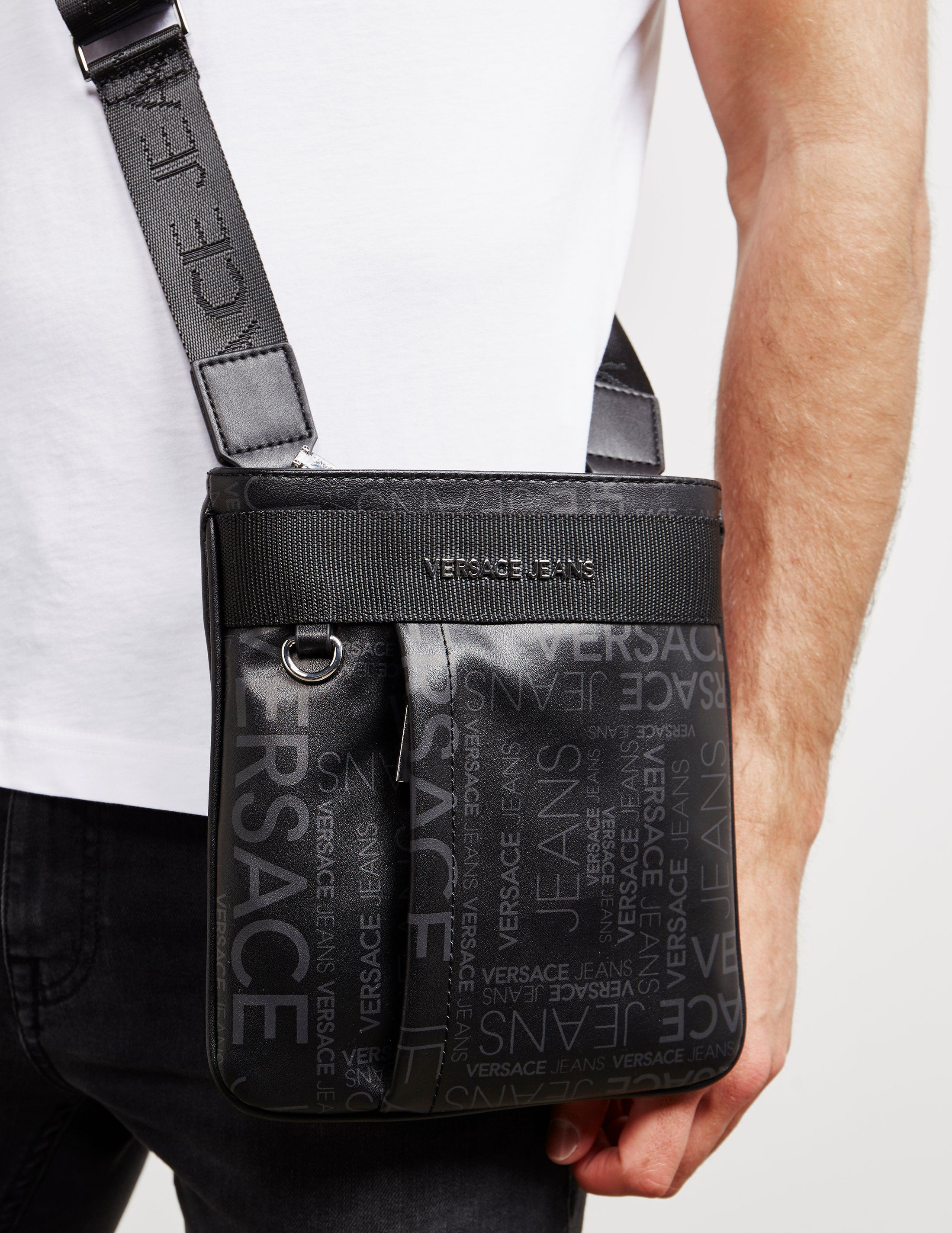 Versace Jeans All Over Logo Square Small Item Bag