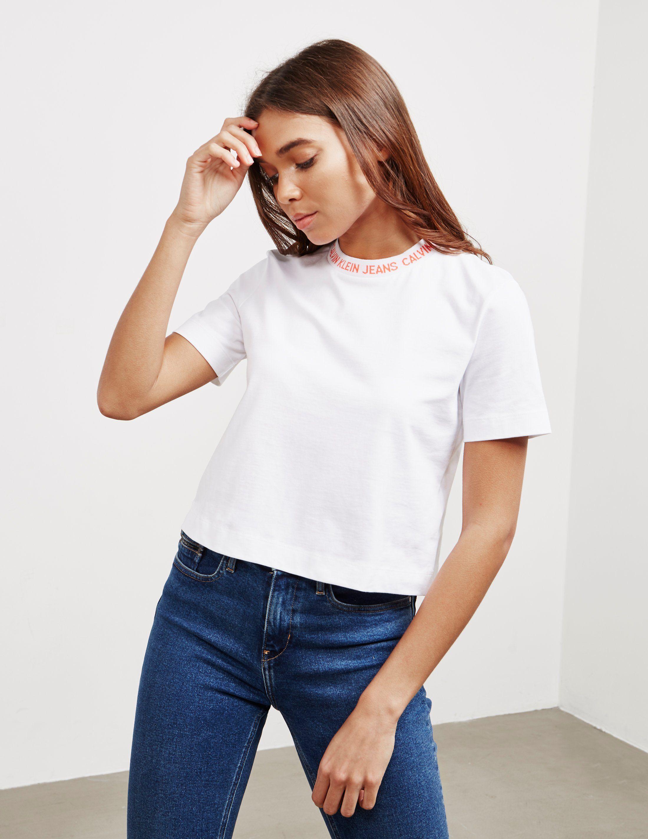 Calvin Klein Jeans Logo Crop Short Sleeve T-Shirt