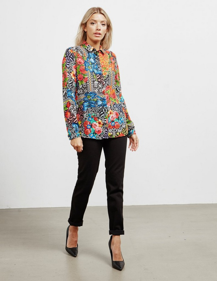 Versace Jeans Couture Floral Print Long Sleeve Shirt