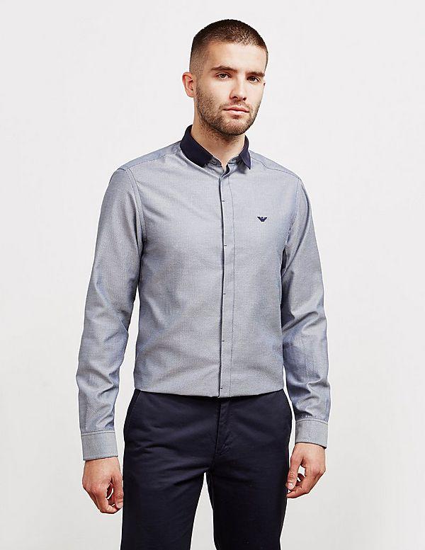 Emporio Armani Contrasting Collar Long Sleeve Shirt
