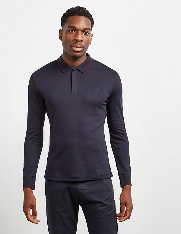 Emporio Armani Merc Tipped Long Sleeve Polo Shirt