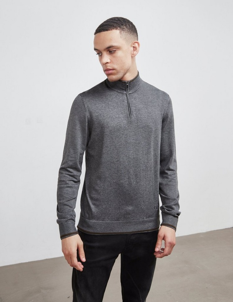 Emporio Armani Tipped Half Zip Knit Jumper
