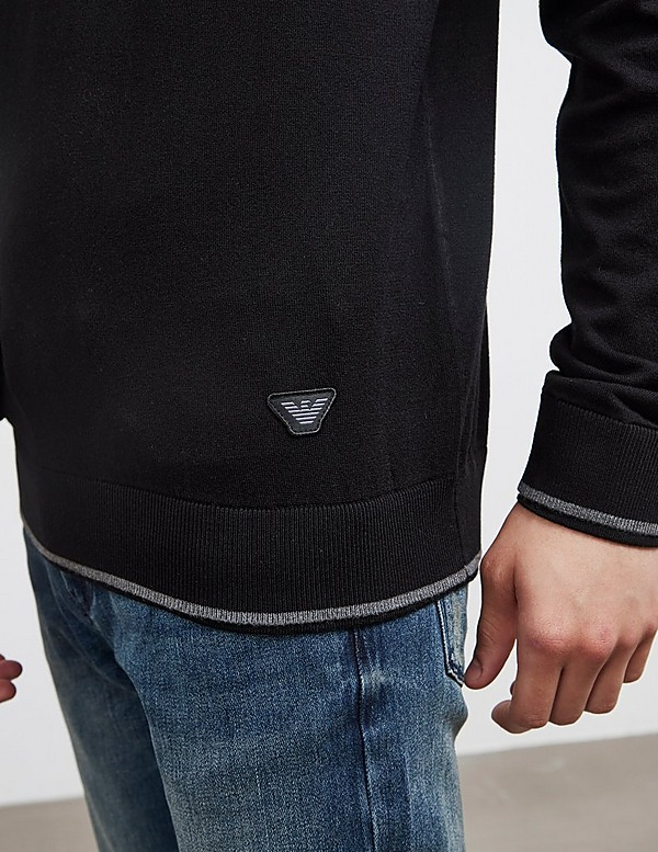 Emporio Armani Tipped Half Zip Knit Jumper