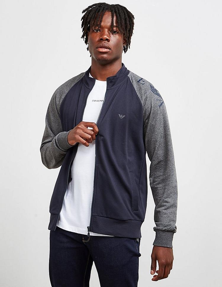 Emporio Armani Loungewear Bomber Collar Full Zip Fleece Track Top