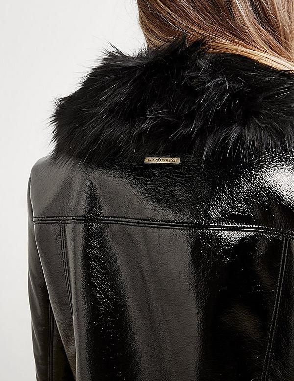 Armani Exchange Faux Fur Trim Coat