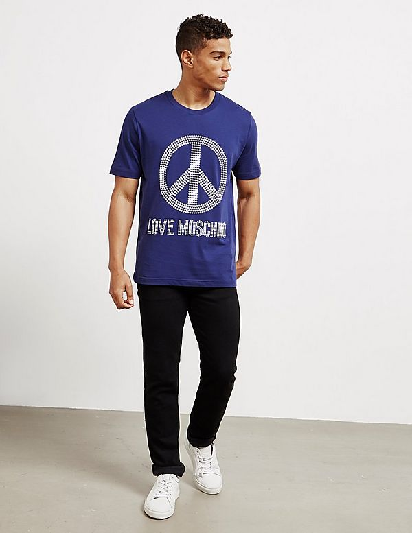 Love Moschino Stud Peace Short Sleeve T-Shirt