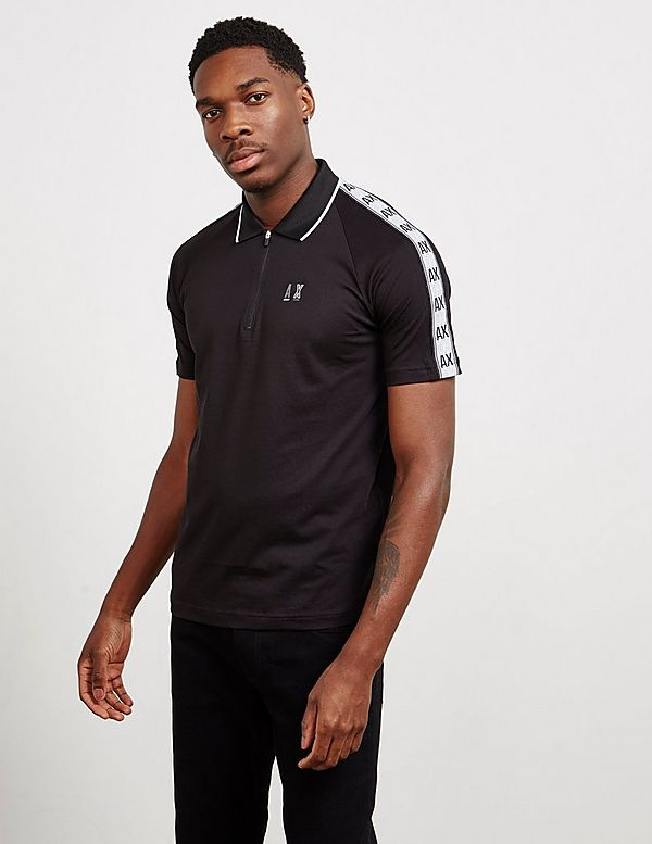 Armani Exchange Tape Zip Placket Short Sleeve Polo Shirt