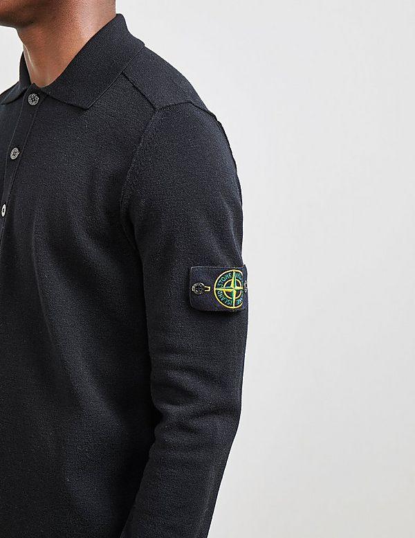 Stone Island Knit Long Sleeve Polo Shirt