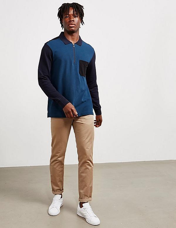 PS Paul Smith Block Half Zip Long Sleeve Polo Shirt