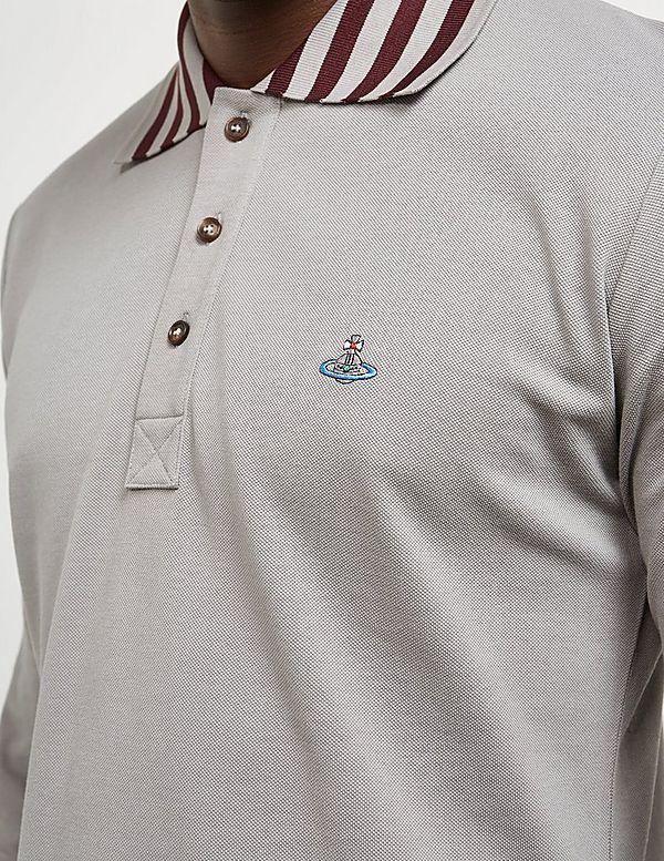 Vivienne Westwood Stripe Collar Long Sleeve Polo Shirt
