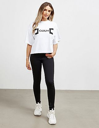 HUGO Logo Cropped Short Sleeve T-Shirt