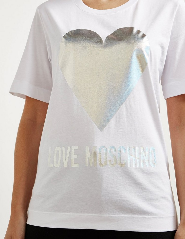 Love Moschino Foil Heart Short Sleeve T-Shirt