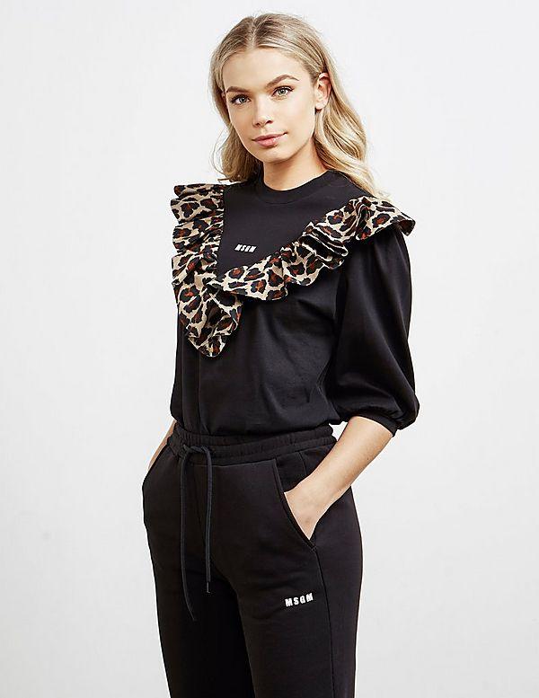 MSGM Frill Leopard Sweatshirt