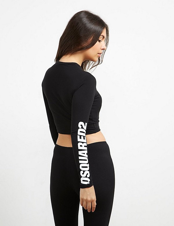 Dsquared2 Sleeve Logo Long Sleeve Crop T-Shirt