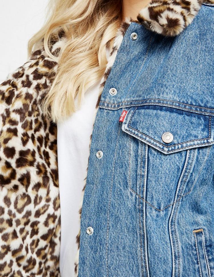 Levis Fur Leopard Print Denim Jacket