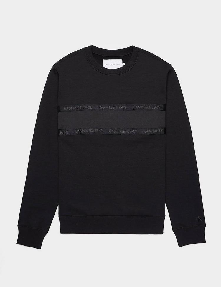 Calvin Klein Jeans Tape Mixed Media Crew Neck Sweatshirt