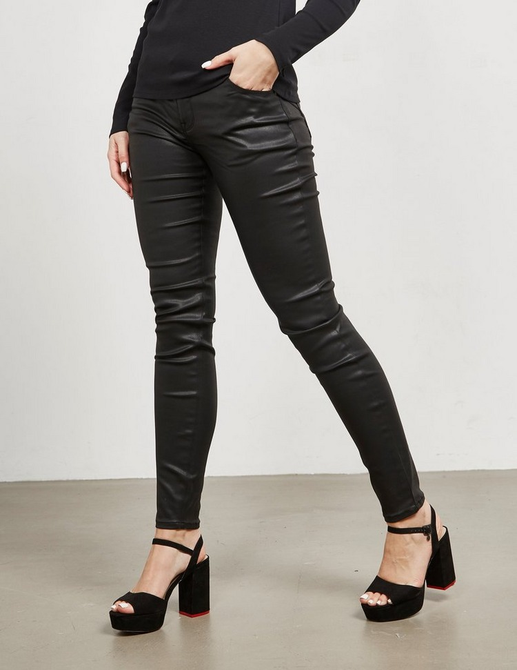 Emporio Armani J23 Leather Look Skinny Jeans