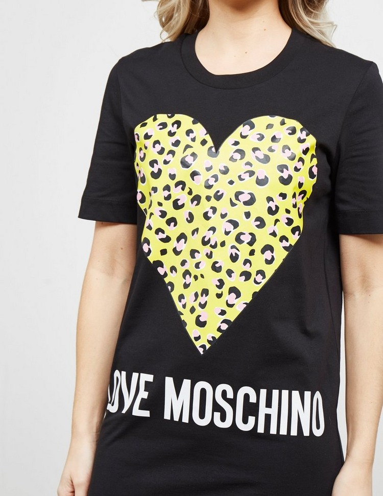 Love Moschino Leopard Heart Print Dress
