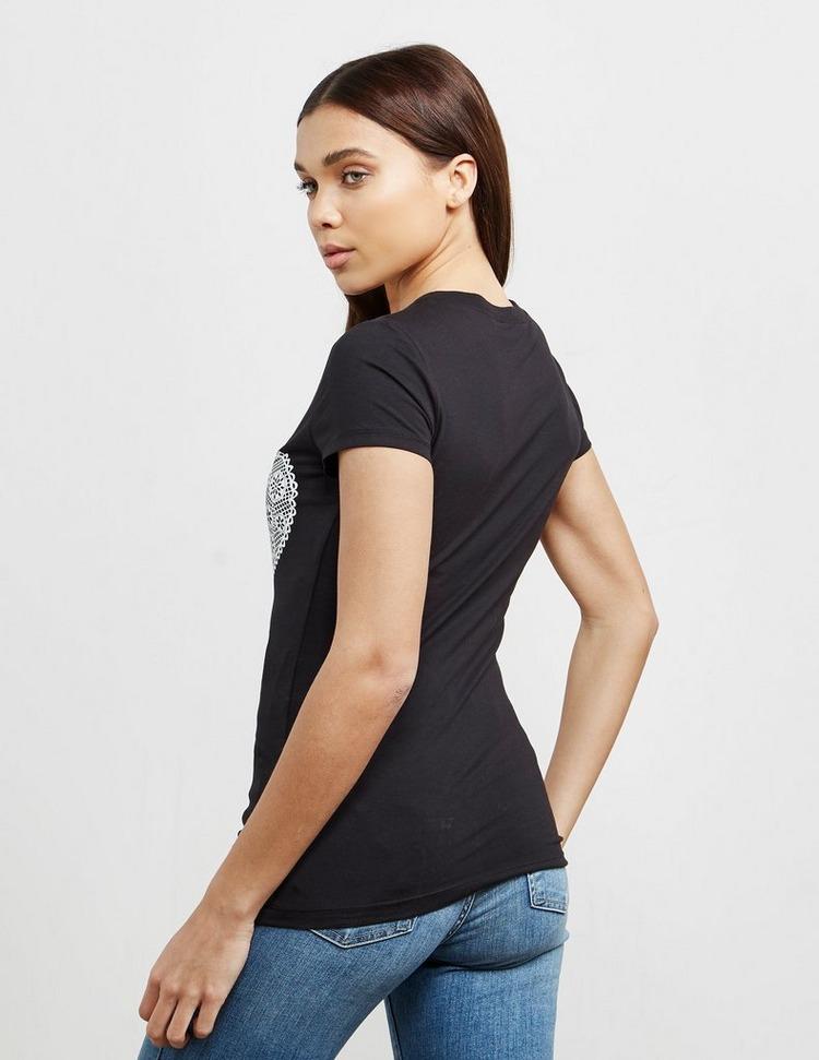 Love Moschino Lace Glitter Heart Short Sleeve T-Shirt