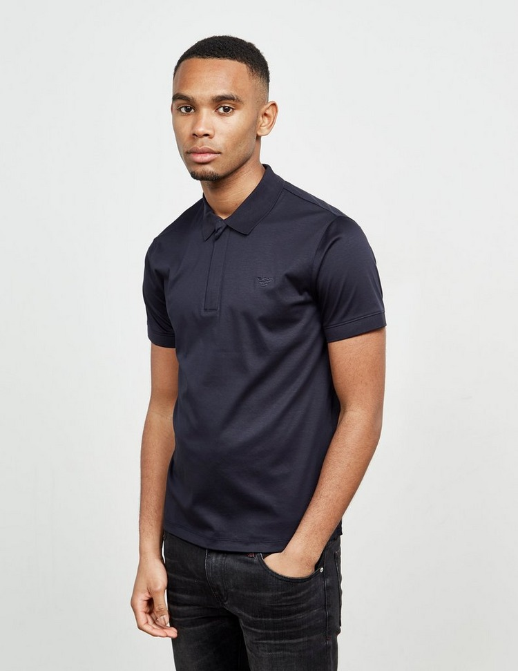 Emporio Armani Zip Placket Short Sleeve Polo Shirt