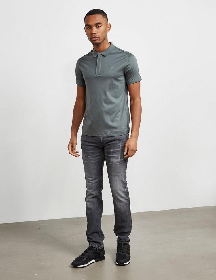 Emporio Armani Zip Placket Short Sleeve Polo Shirt