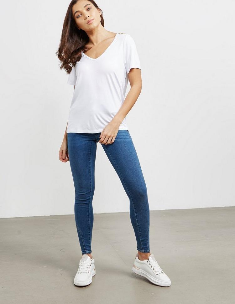 Holland Cooper V Neck Button Short Sleeve T-Shirt
