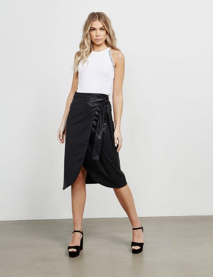 Armani Exchange Tie Leather Skirt