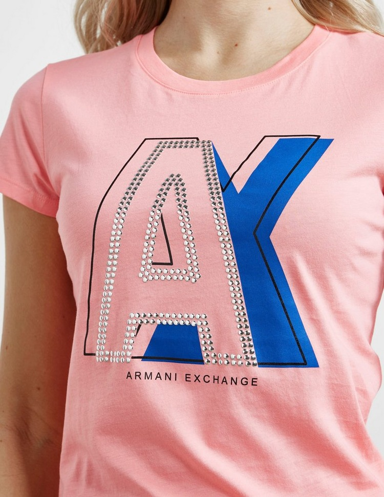 Armani Exchange Sequin Text Logo Short Sleeve T-Shirt