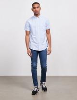 Armani Exchange Vertical Stripe Linen Short Sleeve Shirt