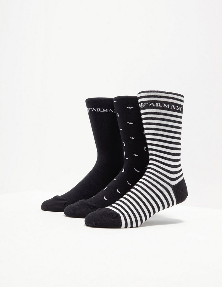 Emporio Armani Loungewear 3 Pack Stripe Socks