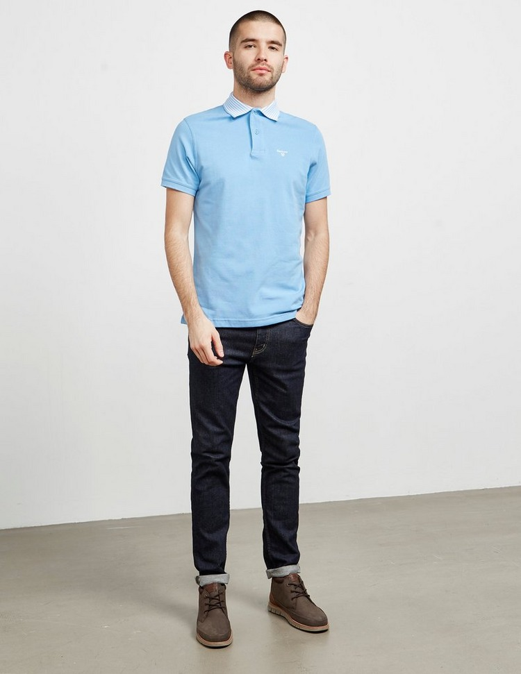 Barbour Stripe Collar Short Sleeve Polo Shirt