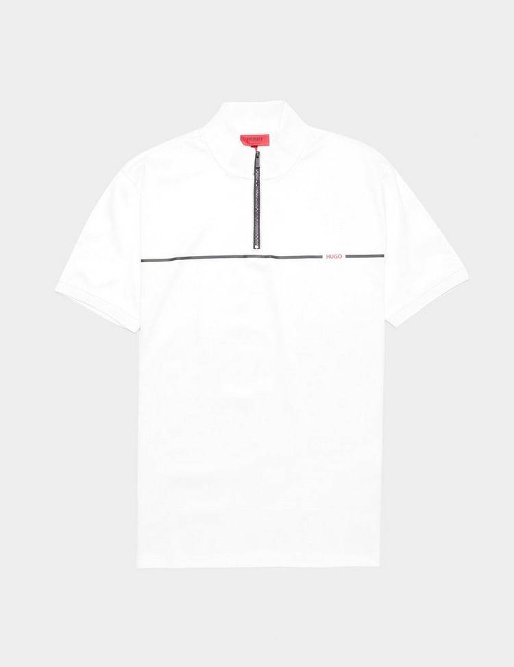 HUGO Zip Neck Short Sleeve Linea Polo Shirt