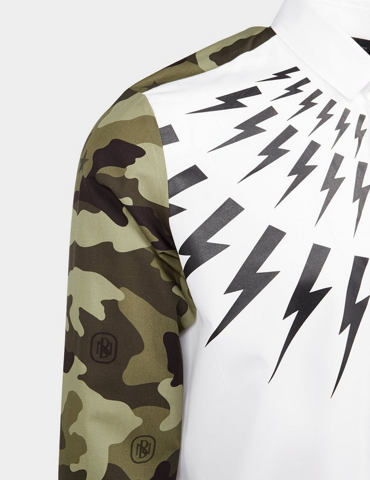 Neil Barrett Bolt Camouflage Long Sleeve Shirt