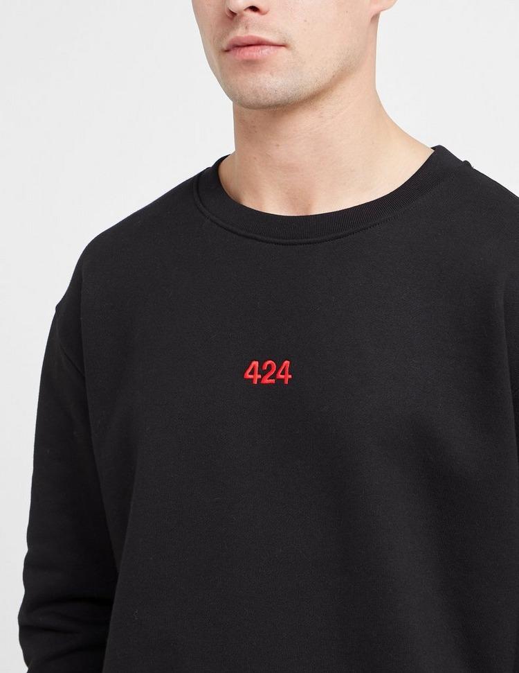 424 Red Embroidered Sweatshirt