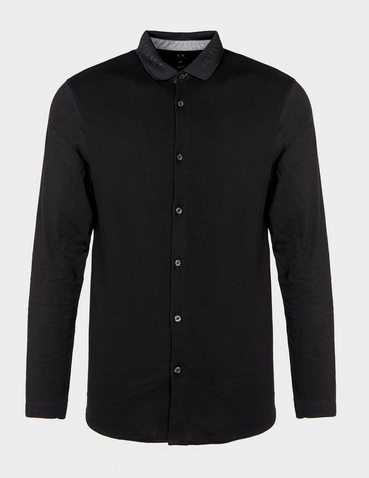 Armani Exchange Logo Collar Long Sleeve Shirt